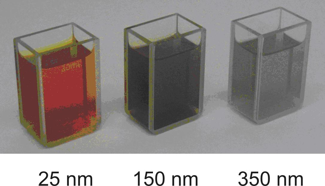 Water dispersion of silver nanoparticles exhibits a typical orange-yellow colour which vanishes as the size of nanoparticles exceeds above 100 nm.